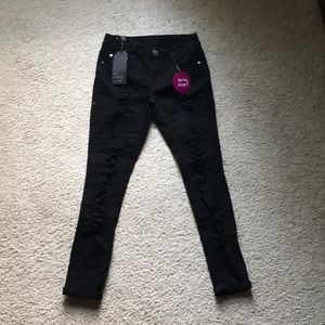 Cuffed Up Distressed Ankle Jeans- Black